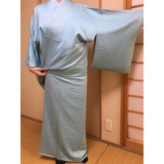 ミツコシ(三越)の高松三越購入 正絹 着物 色無地水色 3回着用(着物)
