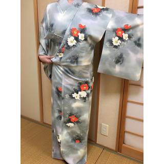 ミツコシ(三越)の高松三越購入 正絹 着物 付下げ 2回着用のみ(着物)