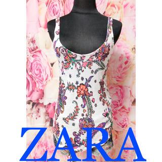 ザラ(ZARA)の292.ZARA 花柄 フラワー 派手 タンクトップ(タンクトップ)