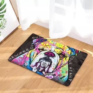 新品 ブルドッグ 犬 玄関マット バスマット フロアマット インテリア カラフル(玄関マット)