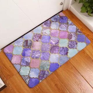 新品 モロッコタイル モロッカン 玄関マット バスマット フロアマット 紫(玄関マット)
