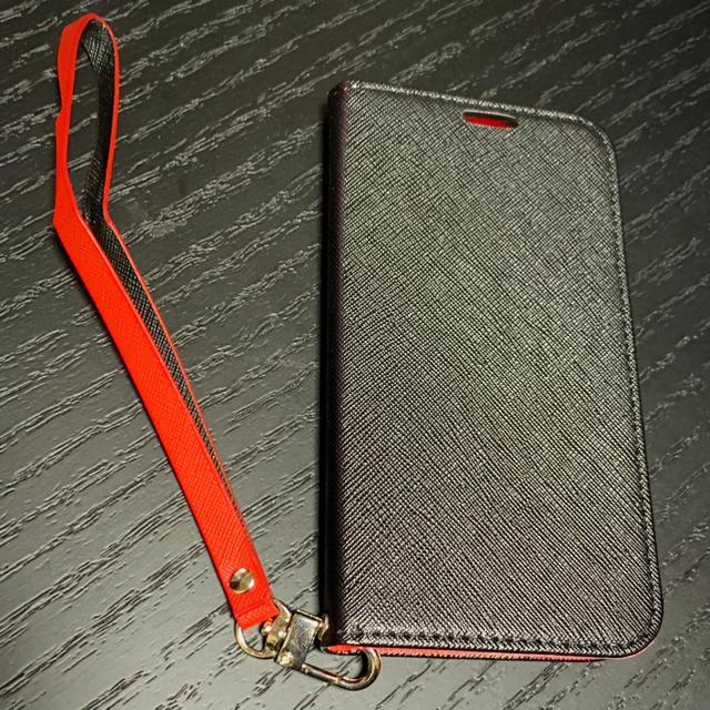 iPhoneケース X&XS対応 ノーブランド 黒×赤 手帳タイプ エピレザー調の通販 by kz's shop|ラクマ