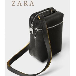 ザラ(ZARA)のZARA ザラ ボディーバッグ ミニショルダーバッグ ブラック レザー ポーチ(ボディーバッグ)