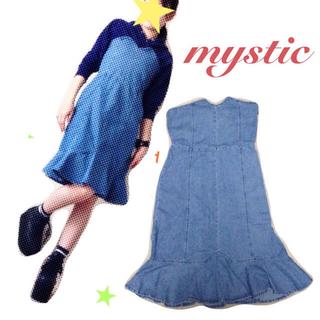 ミスティック(mystic)のmystic デニムベアワンピ(ひざ丈ワンピース)