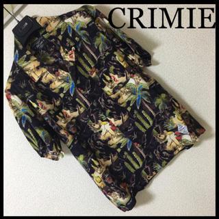 ◆レア◆CRIMIE クライミー◆アロハ オープンカラーシャツ 黒豹 ドラム S