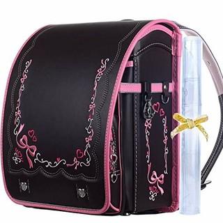 ランドセル 黒 ブラック ピンク 女の子 リボン 刺繍(ランドセル)