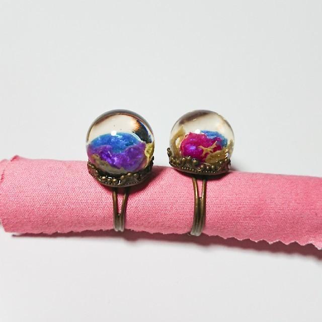 JaneMarple(ジェーンマープル)の球体 リング 指輪 セット ヴィレヴァン ハンドメイドのアクセサリー(リング)の商品写真