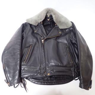 C861 美品 ラングリッツ レザー ライダースジャケット 襟ボア オーダー品(ライダースジャケット)