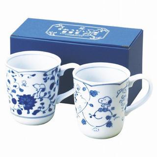 SNOOPY - スヌーピー 藍唐草 ペアマグカップセット 陶器 食器