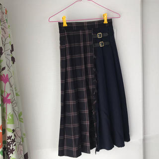しまむら - ♡チェック柄 ロングスカート ネイビー 新品未使用