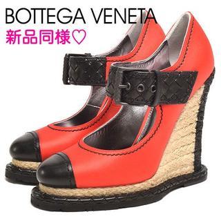 ボッテガヴェネタ(Bottega Veneta)の新品同様♡ ボッテガヴェネタ 甲ベルト パンプス レッド 35 22.5cm(ハイヒール/パンプス)