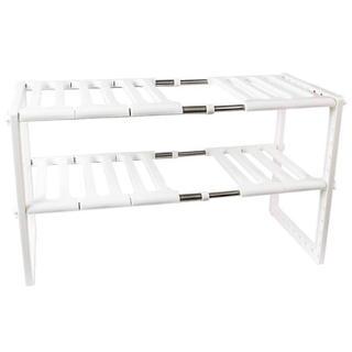 シンク下 収納ラック 二段 自由調節 伸縮タイプ ホワイト キッチン収納(キッチン収納)