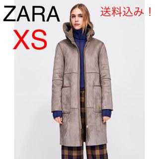 ザラ(ZARA)の新品★ZARA ザラ 今季 2018AW リバーシブルボアコート XS スエード(ロングコート)