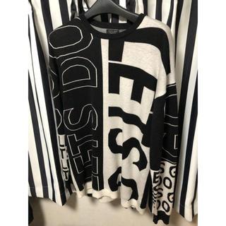 ザラ(ZARA)のZARA ザラ メンズ ニット オーバーサイズ ブラック ホワイト Lサイズ(ニット/セーター)