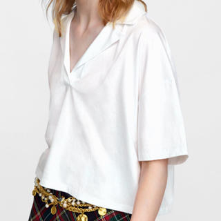 ザラ(ZARA)のZARA オーガニックコットン100% 半袖Tシャツ L 新品未使用(ポロシャツ)