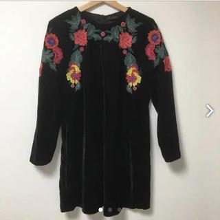 ザラ(ZARA)のザラ ZARA 刺繍 ワンピース ドレス(ミディアムドレス)