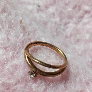 アガット(agete)のアガット 10K  ダイヤモンド ピンキーリング  1号 ピンクゴールド 二連(リング(指輪))