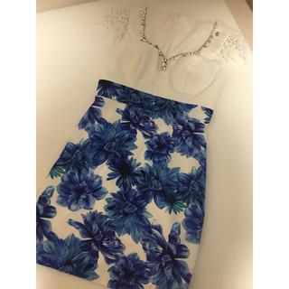 ジュエルズ(JEWELS)のブルー 花柄ミニドレス キャバドレス(ミニドレス)
