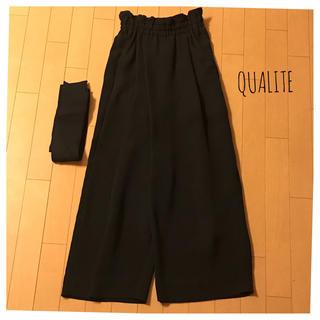 qualite - 美品♡qualite♡リボン付きイージーパンツ♡ブラック