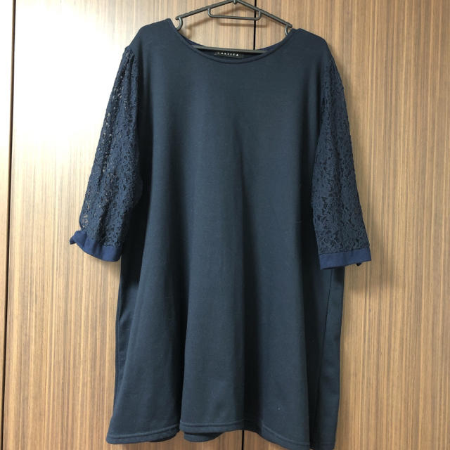 しまむら(シマムラ)の大きいサイズ 3L 袖のレースがかわいいワンピース レディースのワンピース(ミニワンピース)の商品写真