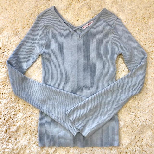 しまむら(シマムラ)のフレアスリーブ♡リブニット水色 レディースのトップス(ニット/セーター)の商品写真
