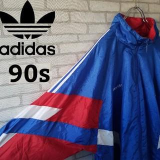アディダス(adidas)の【90s】アディダス  ナイロンジャケット  マルチカラー  海外 XL(ナイロンジャケット)
