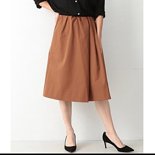 Demi-Luxe BEAMS(デミルクスビームス)の2017AW デミルクスビームス アシンメトリータックスカート テラコッタ 36 レディースのスカート(ひざ丈スカート)の商品写真