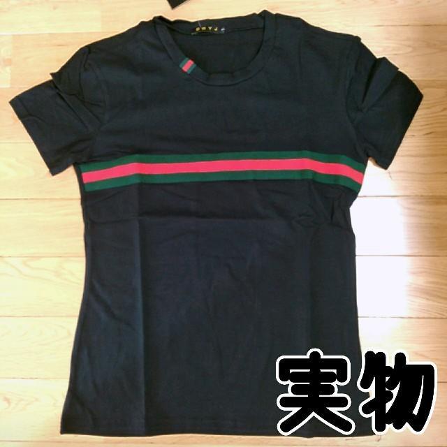 即購入OK❤半袖 シンプル ライン カットソー 2カラー M、L ブラック メンズのトップス(Tシャツ/カットソー(半袖/袖なし))の商品写真