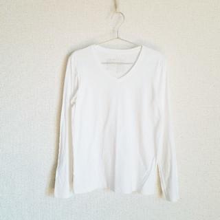 ムジルシリョウヒン(MUJI (無印良品))のカットソー Tシャツ 無印 Vネック 白 長袖 L(Tシャツ(長袖/七分))