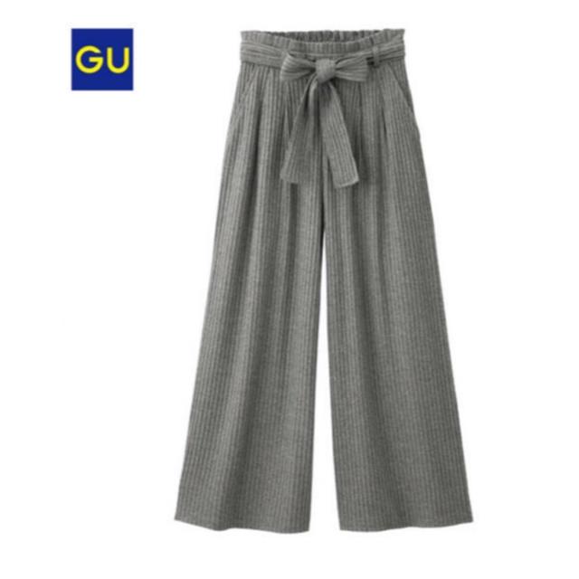 GU(ジーユー)のGUウエストリボンリブワイドパンツ レディースのパンツ(カジュアルパンツ)の商品写真