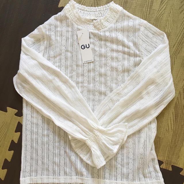 GU(ジーユー)のGU  レースフリルネックT 新品未使用 Lサイズ レディースのトップス(シャツ/ブラウス(長袖/七分))の商品写真