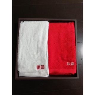 ユニクロ(UNIQLO)の【非売品】ユニクロUNIQLO紅白タオル & ゾフZoff ふくぶくろ(タオル/バス用品)