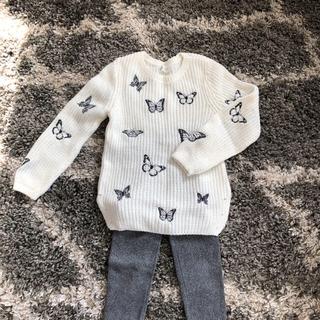 エイチアンドエム(H&M)のH&M  子供ニット バタフライ刺繍(ニット)
