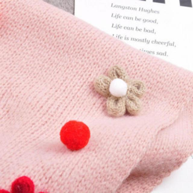 ( カラー / ピンク ) フラワーモチーフ 女の子 用  ネックウォーマー キッズ/ベビー/マタニティのこども用ファッション小物(マフラー/ストール)の商品写真