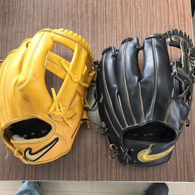 NIKE(ナイキ)のナイキ硬式・内野用グローブ2個 スポーツ/アウトドアの野球(グローブ)の商品写真