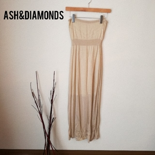 アッシュアンドダイアモンド(ASH&DIAMONDS)のASH&DIAMONDS 試着のみ美品 ベアトップ/チューブトップニットドレス(ロングワンピース/マキシワンピース)