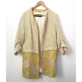 ザラ(ZARA)のZARA購入)ジャケットコート S イエロー ツイード 花柄(ノーカラージャケット)