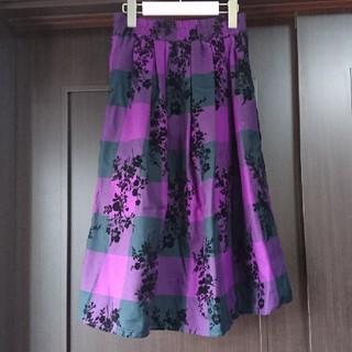 シマムラ(しまむら)のしまむら 花柄 チェック 紫 パープル スカート(ひざ丈スカート)