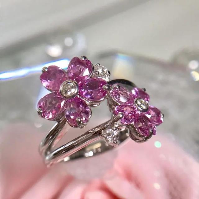 K18WG サファイア ダイヤモンド リング 指輪 お花モチーフ 19-609 レディースのアクセサリー(リング(指輪))の商品写真