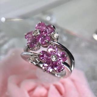 K18WG サファイア ダイヤモンド リング 指輪 お花モチーフ 19-609(リング(指輪))
