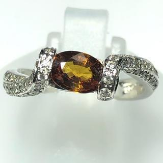限定特価  pt900 プラチナ  オレンジサファイア ダイヤモンドリング (リング(指輪))