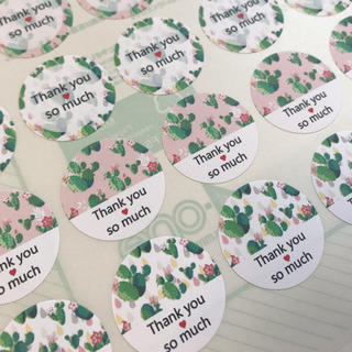 サボテン*サンキューシール48枚(カード/レター/ラッピング)