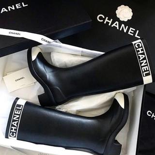 シャネル(CHANEL)のレア 新品 CHANEL レインブーツ 36(レインブーツ/長靴)