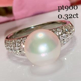 タサキ(TASAKI)のpt900 大珠アコヤパール9.3㎜ ダイヤモンドリング お値下げ致しました(リング(指輪))