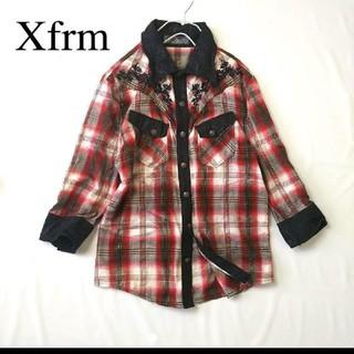 トランスフォーム(Xfrm)の再値下 トランスフォーム チェック 刺繍 7分袖シャツ 3 秋冬 襟、袖ワイヤー(シャツ)