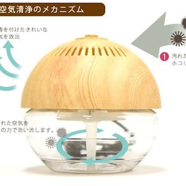 【激安特価】送料無料 空気清浄機 木目調 ボール型 アロマ 7色ライト点灯 スマホ/家電/カメラの生活家電(空気清浄器)の商品写真