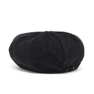カスタネ(Kastane)のkastane ◎ ベレー帽 コーデュロイ 黒 (ハンチング/ベレー帽)