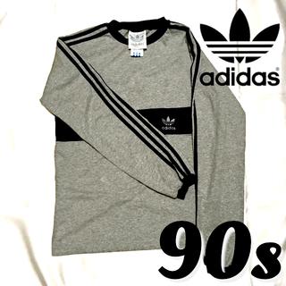 アディダス(adidas)のadidas❗90s⭐️ グレー×パープルのロンT 銀刺繍!(Tシャツ/カットソー(七分/長袖))