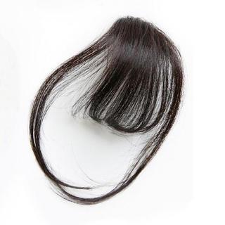 前髪ウィッグ100%人毛 サイドあり ナチュラルブラック人毛100% 総手植え(前髪ウィッグ)