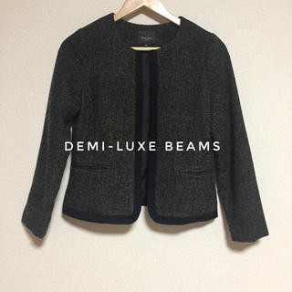 デミルクスビームス(Demi-Luxe BEAMS)の美品 デミルクスビームス  ツイード ノーカラー ジャケット(ノーカラージャケット)